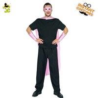 Populaire Hommes de Super-Héros Rose Costume Vente Chaude Avec Eye patch & Cape & Wrister Fantaisie Robe Partie Cosplay Super-Héros Costumes