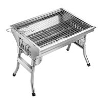 HOMEMAXS Outdoor Barbecue Charcoal Grill Stainless Steel Small Portable Folding Charcoal BBQ Grill Set for picnic Home party