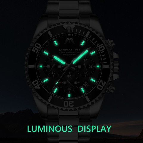 MEGALITH Fashion Mens Watches Top Brand Luxury Chronograph Waterproof Colck Men Watch Gents Reloj Hombre 2018 Sport Wrist Watch Karachi