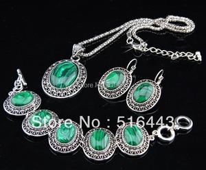 Image 2 - Charms 2 takım vintage antik gümüş p oval doğal malakit taş küpe bilezik kolye kadınlar takı seti a 698