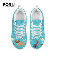 FORUDESIGNS Veterinarian Sneakers Women Shoes Casual Breathable Mesh Lace up White Flat Walking Ladies Shoes Zapatos Mujer 2019
