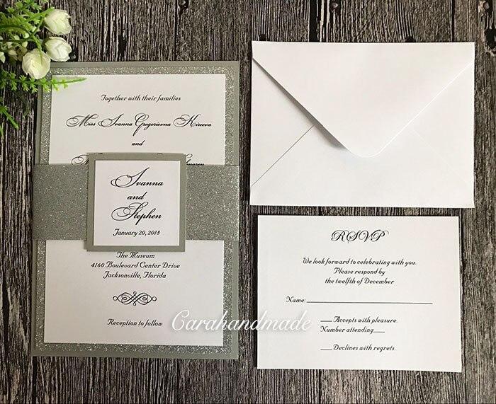 Bespoke Gold oder Silber Glitzernde Hochzeit Einladungen mit RSVP-in Karten & Einladungen aus Heim und Garten bei  Gruppe 3
