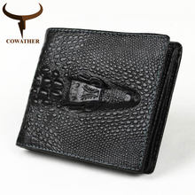 COWATHER top quality COW genuine leather mens wallets for men 2019 new design vertical style black purse(China)