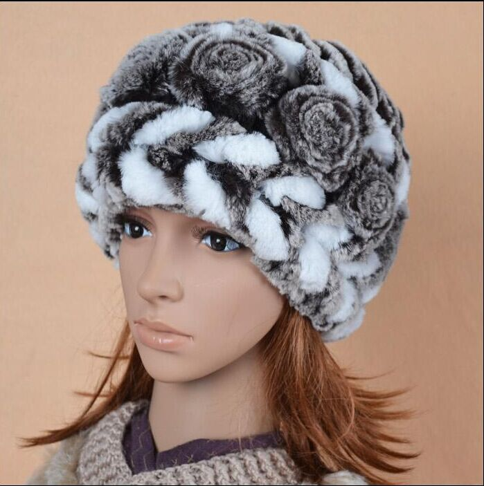 Winter Hats Real Rex Rabbit Fur Winter Female Hair Fur Hat Female Autumn And Winter Ear Cycling Cap Knitted Hat For Women Cap
