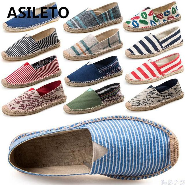ASILETO 2018 Vintage women flats shoes woman Ladies Womens Casual Espadrilles Shoes for Female Unisex Larger Size 45 Breathable