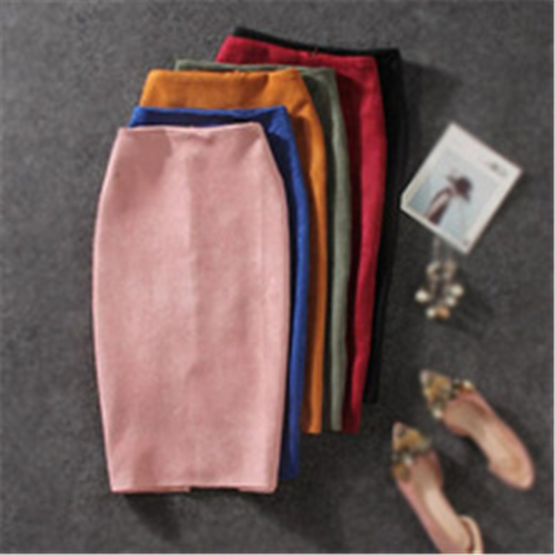 iMucci Women Skirts Summer Plus Size Knee-Length Pencil Skirt Female Vintage Suede Split Skirts
