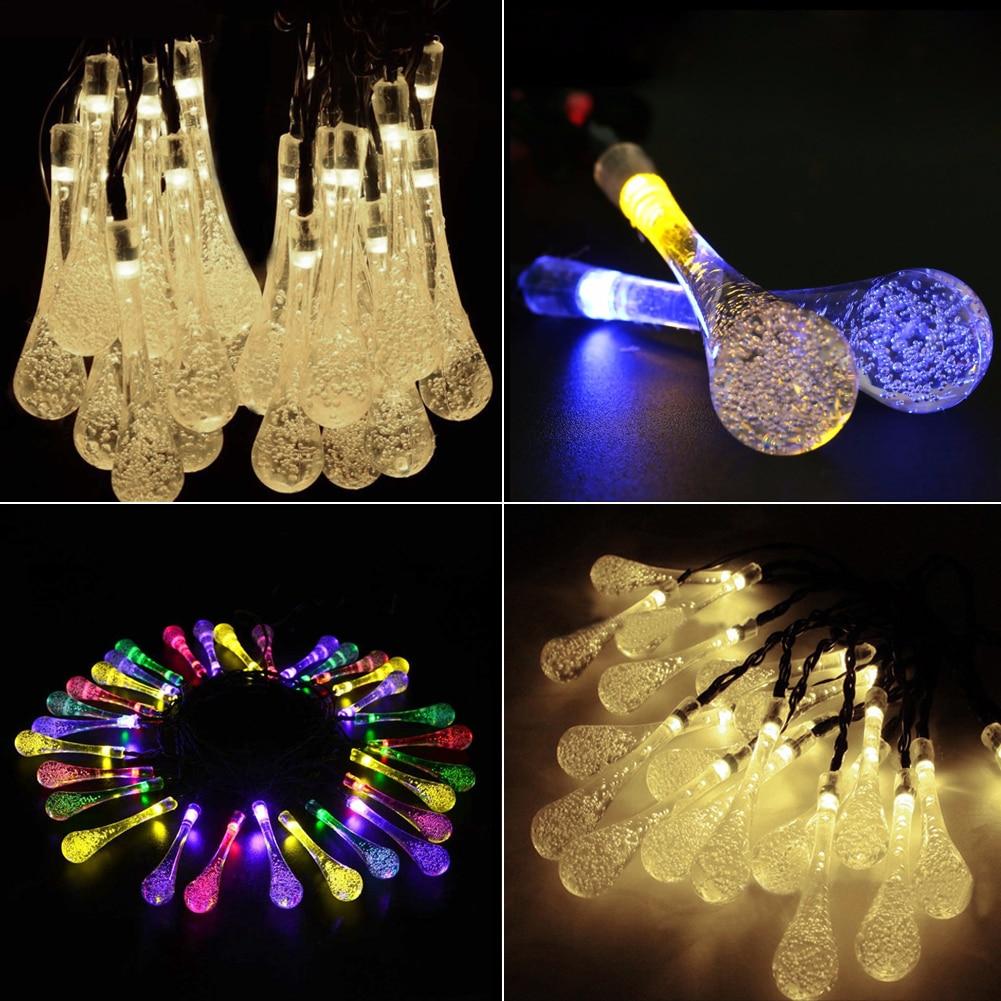 TSLEEN Solar Powered Water Drop LED Fairy String Lights Outdoor Wedding Party Decor Christmas Xmas Tree Decorations
