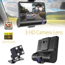 "Car DVR Camera 4"" HD Dual Lens Car Running recorder with Rear view three camera Night vision Multi-functional multilingual"