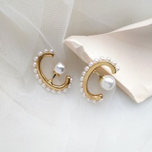 Personality Versatile Korean Geometric C Shape Stud Earrings Girl Women Fashion Simple Creative Imitation Pearl Jewelry
