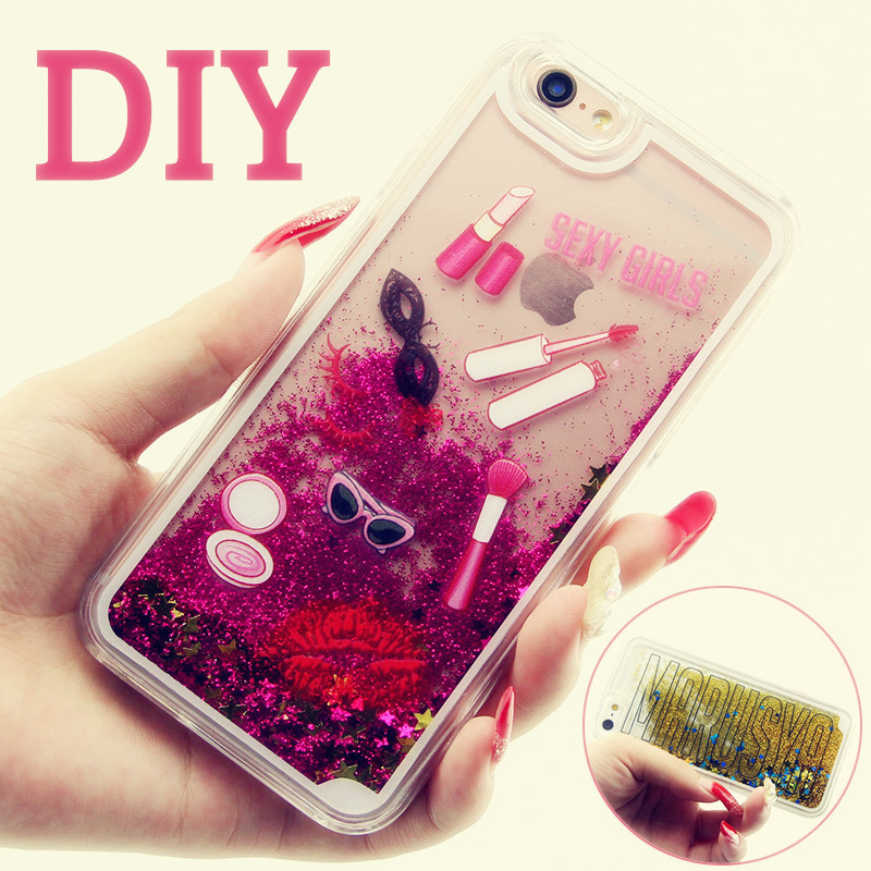 Colorful sparkle star liquid hard plastic phone case for Diy custom phone case