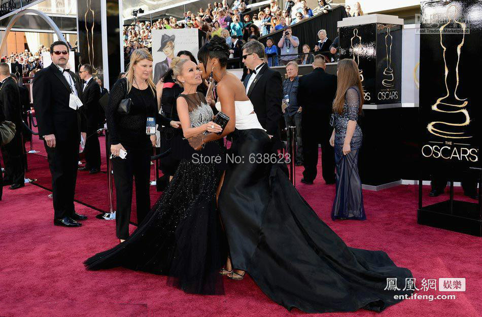 White And Black Red Carpet Pageant Dress Black And White Side Slit