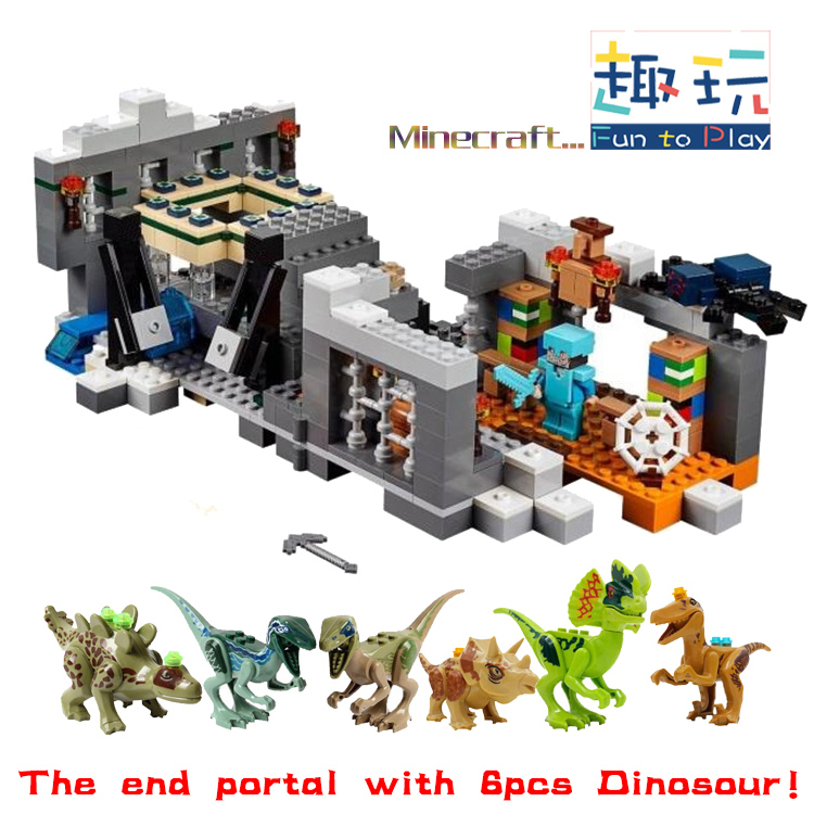 LEPIN The End Portal Jurassic Dinosaur Legoe Minecraft Building Blocks Batman Minifigures Starwars Marvel 05033