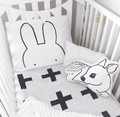 Black White Kids Pillow Case 48x74cm Rabbit cat Baby Pillow Cover Kids Bedding Cotton Room Decorative Cushion cover Pillowcases