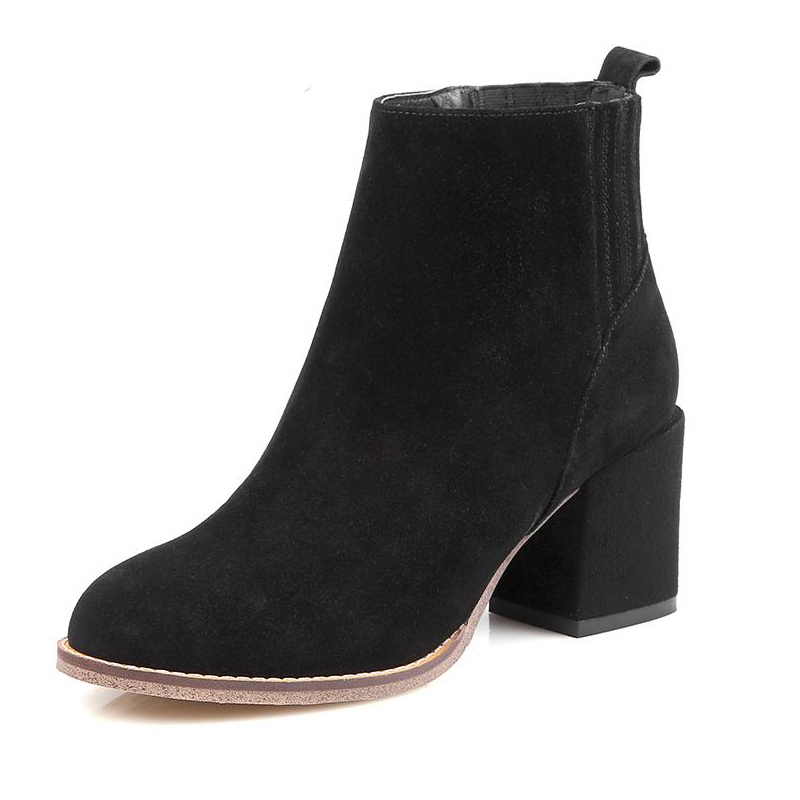 2016 Genuine Leather Women Boots Slip On Fall Winter Boots Cozy Thick Heels Shoes Woman High