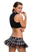 New fashion plus size women sexy school uniform costume 2017 deep v neck top+short plaid skirt hot sale school girl costume 8903