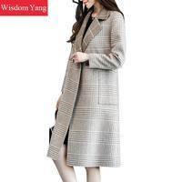 Elegant Grey Plaid Winter Coat Xlong Sheep Wool Casual Korean Coats Women 2018 Female Button Woolen Overcoat Slim Lady Outerwear