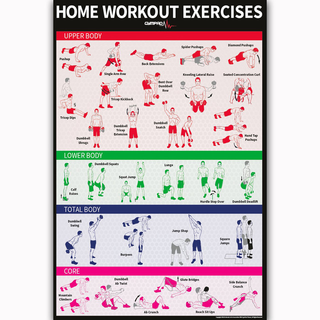 MQ2344 Dumbbell Bodyweight Workout Exercise Build Muscle Hot New Art Poster Top Silk Light Canvas Home
