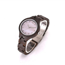 2018 Newest Full Women Wooden Watch With Fashion Shell surface Simple Clock Japan MIYOTA Movement  For Christmas Gifts