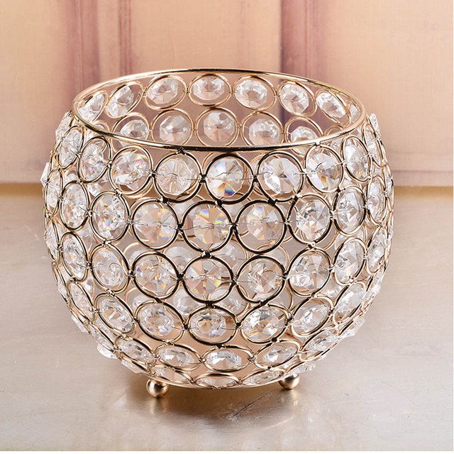 European Style Gold Crystal Glass Candle Holders Lantern For Wedding