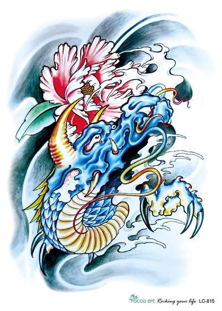 3d Besar Stiker Tato Temporer Sketsa Naga Biru Lukisan Bunga Tinta