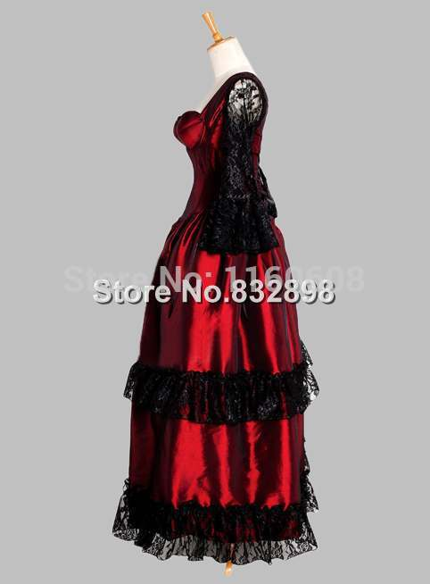1c94d511280 Gothic Black and Red Corset Top Thai Silk Victorian Theater Dress-in Dresses  from Women s Clothing on Aliexpress.com