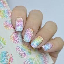 3 muster/blatt Nagel MAD Gradienten Blume Reben Nagel Wasser Abziehbilder Leopard Print Nail art Tattoo Decals