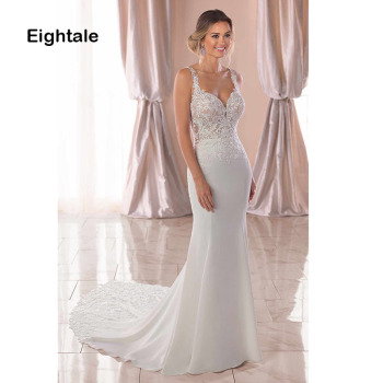 Eightale Mermaid Boho Wedding Dresses 2019 Sweetheart Appliques Lace Chiffon Wedding Gowns Backless Bride Dress vestido novia 2