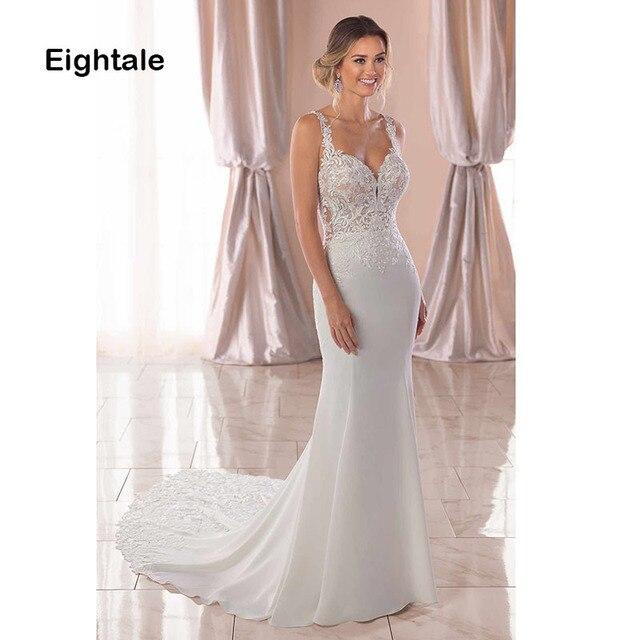 Eightale Mermaid Boho Wedding Dresses 2019 Sweetheart Appliques Lace Chiffon Wedding Gowns Backless Bride Dress vestido novia 2