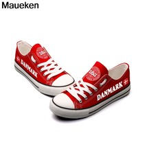 e01adb2d5480 Hot Printed 2018 men women unisex Denmark red diy Shoes for fans gift size  35-44 0426-7