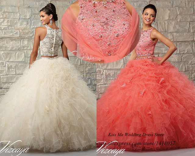Coral Quinceanera Dresses Ball Gowns Lace Two Piece Party Prom Dress Crystals 2015 Dress for 15 Years Vestido de Debutante