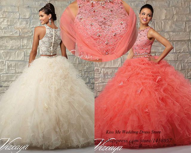 Coral vestidos de Quinceanera vestidos cristais Prom Vestido de duas peças Vestido para 15 anos Vestido de Debutante