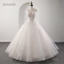 Fansmile Illusion Princess Bridal Baljurk Trouwjurken 2020 Vestido De Noiva Plus Size Aangepaste Bruidsjurken FSM 561F