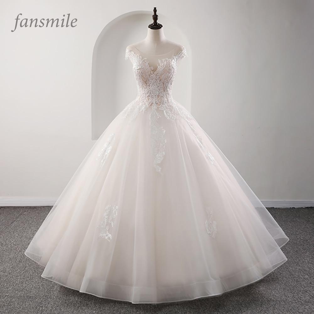 Fansmile Illusion Princess Bridal Ball Gown Wedding Dresses 2019 Vestido De Noiva Plus Size Customized Wedding Gowns FSM-561F