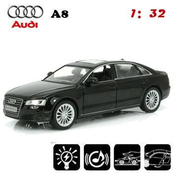 Auto Styling Collectible Modellen Zwart 1/32 Schaal Model Autou0027s Audi A8  Kinderen Speelgoed Baby