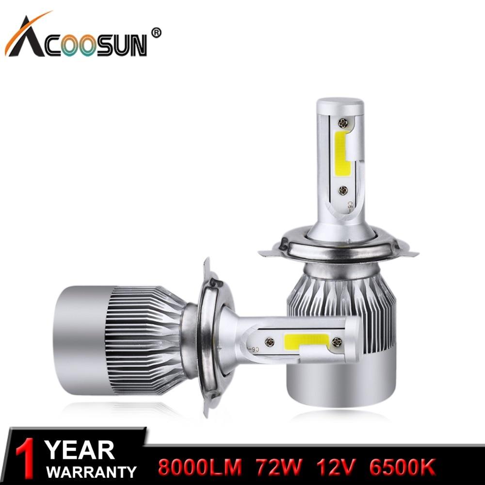 AcooSun H4 H7 LED פנס לרכב C6 H1 H3 פנס פנס H8 / H11 HB3 / 9005 HB4 / 9006 9012 9007 H13 6000K 72W 8000LM כל מכונית אחת