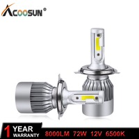 AcooSun H4 H7 LED Car Headlight C6 H1 H3 Headlamp Light H8 H11 HB3 9005 HB4