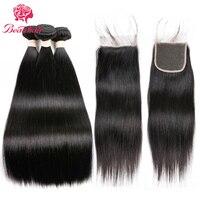 Beau Hair Straight Hair 3 Bundles With Closure Brazilian Human Hair Weave 3 Bundles With Closure