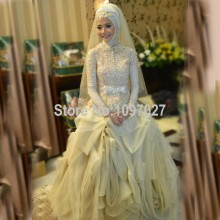 Ball Gown High Neck Hijab Muslim Wedding Dress Bridal Gown Lace Beaded Arabic Vestido De Novias With Long Sleeves AS79
