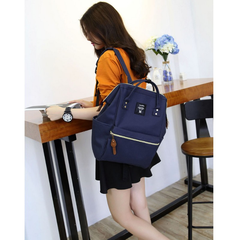 NEW fashion anello ring school backpack 15.6 inch canvas laptop ring package Japan brand young men and women backpack(China)