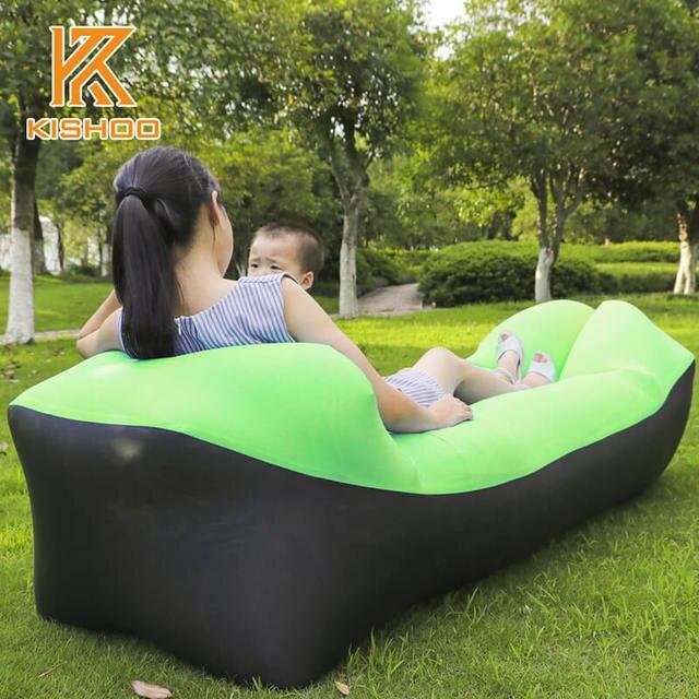 210T Nylon Ripstop Inflatable Camping Sofa Banana Sleeping Bag Lazy Laybag Air Bed Chair Couch