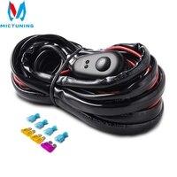 MICTUNING-Barra de luz LED para coche, Cable de 3M, 12v, 24v, 40A, arnés de cableado, relé, Kit de cables, fusible para conducción automática, lámpara de trabajo Led todoterreno