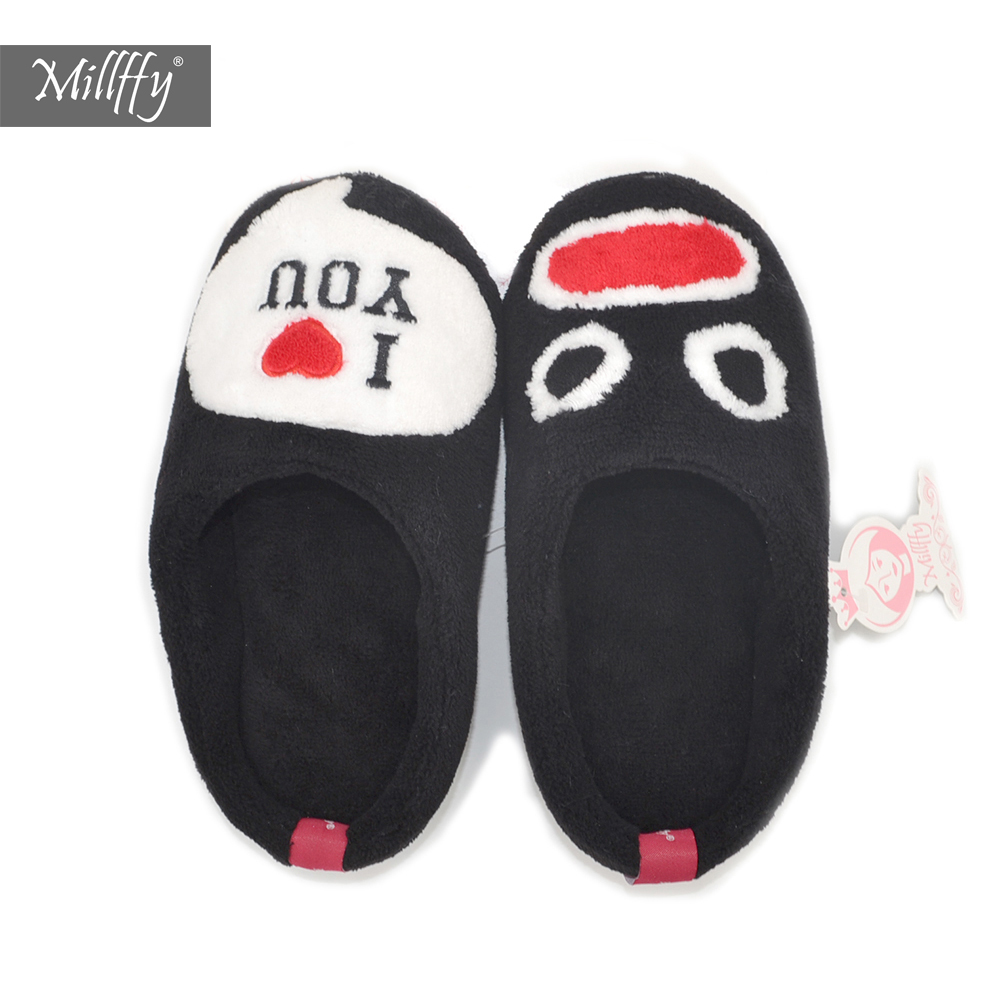 Millffy 2018 New Emoji Funny Slippers Black I Love You Valentine's Day Gift Ideas Meaningful Walk With Me Slippers Shoes сызранова в е ред me to you мишкина книжка
