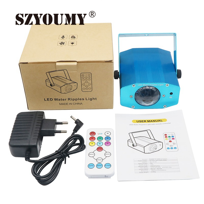 SZYOUMY Mini Aluminium Alloy Remote RGBW LED Water Wave Ripple Disco Stage Light Party Pattern Lighting Show Laser Projector rg mini 3 lens 24 patterns led laser projector stage lighting effect 3w blue for dj disco party club laser