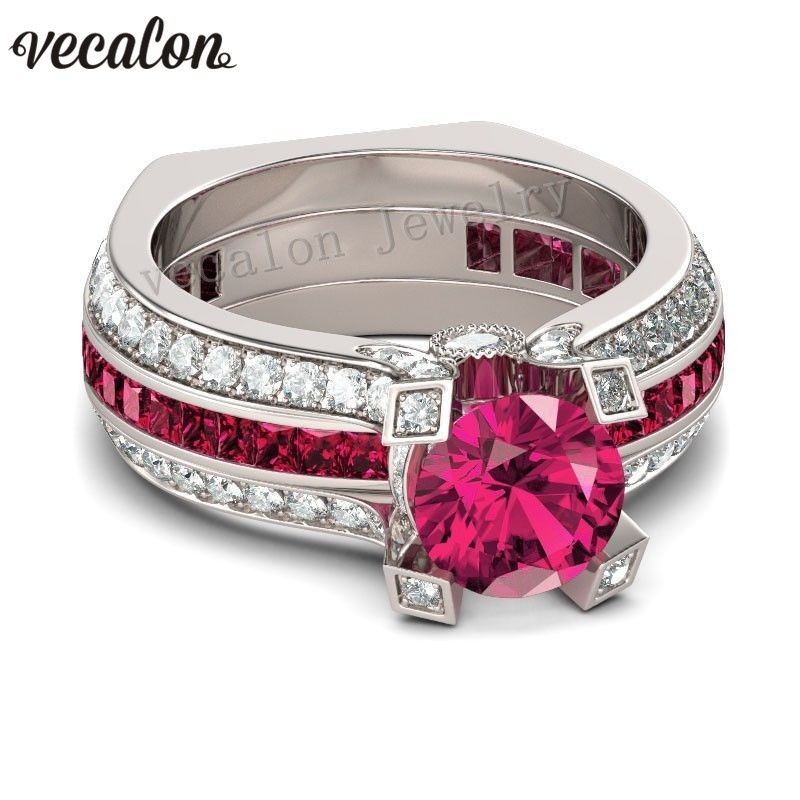 Vecalon Trendy Couple Engagement Ring Red 5A Zircon Cz