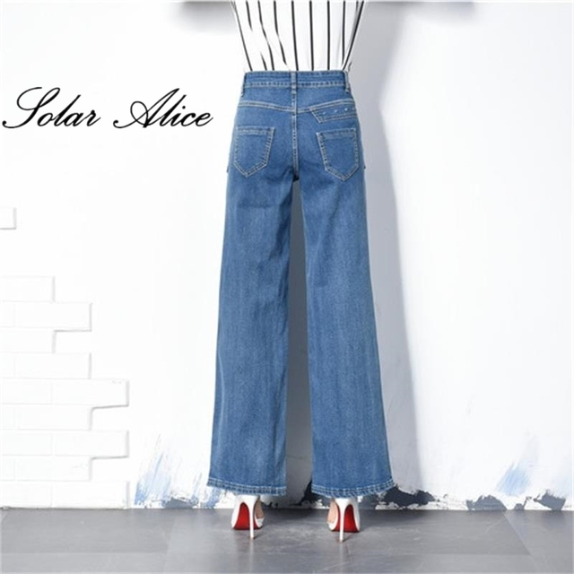 d65e1800552 Free Shipping New Autumn Women Wide Leg Plus Size Jeans High Waist Big  Straight trousers Boot Cut Flares Pants Large Size 26-40