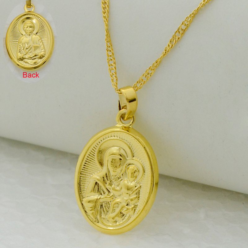 Anniyo Mary Our Lady and Son Pendant Necklace Gold Color Catholic