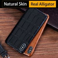 Real Crocodile Skin Phone Cases For iPhone 7 8 Plus X Xs Max Case Natural Alligator Back Cover For 6 6s 6p 7p 8p case