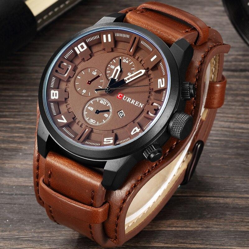 CURREN 2019 nuevos hombres de moda relojes de cuarzo de los hombres del ejército de cuero reloj de pulsera deportivo militar fecha hombre reloj Relogio Masculino