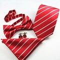 Conjunto de los hombres Floral A Rayas Pocket Square Pajaritas Para Los Hombres Traje de Boda corbatas Gravatas Corbata y Pajarita y Pañuelo y gemelos Conjuntos