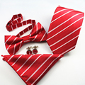 Men's Set Floral Striped Pocket Square Bow Ties For Men Suit Gravatas Necktie Wedding Ties&Bowtie&Handkerchief&Cufflinks Sets
